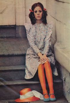 By Michael Berkofsky for Petticoat's June 1968 issue. Lenbury orange blossom dress, U. Madcaps hat adorned with a long scarf by Ascher, Mary Quant orange tights, and blue suede shoes by Anello & Davide. Seventies Fashion, 1960s Fashion, Vintage Fashion, Vintage Dress Patterns, Vintage Dresses, Orange Tights, Lolita Hair, 1970s Dresses, Vestidos Vintage