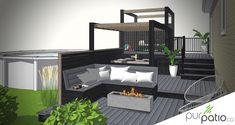 Ce patio en composite avec pergola en bois est situé à St-Jérôme. Il est conçu pour procurer un maximum d'intimité sur plusieurs paliers. Design Patio, Terrasse Design, Outside Living, Outdoor Furniture Sets, Outdoor Decor, New Kitchen, Backyard, Outdoors, 3d