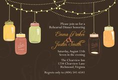 Fall Vintage Hanging Mason Jars - Custom Rehearsal Dinner, Wedding Shower, Engagement, Garden Party Invitation - Autumn, Brown, Orange, Pink. $16.00, via Etsy.