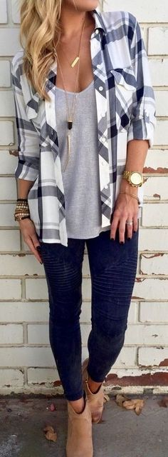Plaid Shirt + Grey Tee + Black Denim                                                                             Source