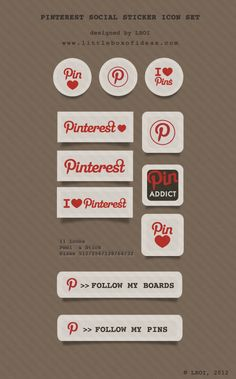 Free Pinterest Icons For Your Websites & Blogs! Sticker Style! Spread some @pinterest Love!