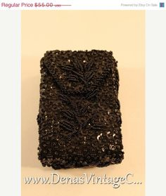 50% OFF Thanksgiving Sale Vintage 70s Safco Glamorous  Black Beaded and Sequin Cigarette Case #vintagedress #vintagepurse