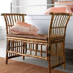 This indoor bench is impeccably handcrafted of durable, renewable rattan and bamboo – eco-chic construction at its finest. Works beautifully iin any room.