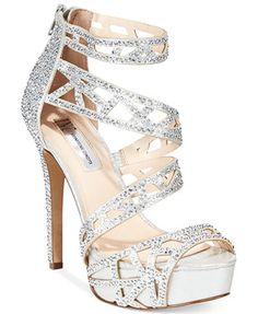 INC International Concepts Women's Melzie Platform Evening Sandals – Wedding Shoes Sparkly Wedding Shoes, Wedding Heels, Shoe Boots, Shoes Heels, Designer Wedding Shoes, Silver Heels, Prom Shoes Silver, White Heels, Evening Sandals