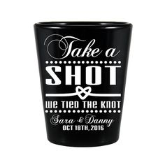 Take A Shot We Tied The Knot Black Shot Glasses Wedding Favors by #MyCustomWedding on #Etsy - www.Etsy.com/Shop/MyCustomWedding - #TakeAShot #WeTiedTheKnot
