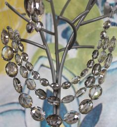 Triple Strand Silver Shadow Oval Crystal Necklace by dimples211, $40.00