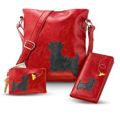 GaelSong Exclusive! The alert and playful Scottie makes a delightful companion. The unmistakable silhouette of a Scottie - sometimes watching a butterfly - adds a whimsical touch to red bag and wallets.