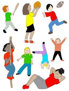 Kids in Action: Sports and PE, Illustrated! 30 PNGs