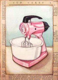 vintage inspired PINK stand mixer print L by Everyday is a Holiday