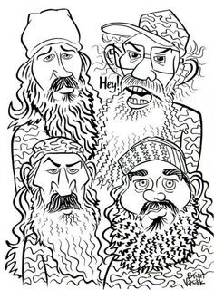 Duck Dynasty People Coloring Pages | drew the cast members of Duck Dynasty and then colored it digitally ...