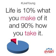 """""""Life is 10% what you make of it and 90% how you take it."""" 
