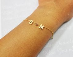 Personalized Gold Initial Bracelet, Double Initial With Rose Heart Bracelet, Two Initials Personal Bracelet, Custom Letter Bracelet,Couple.