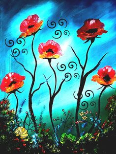 Serealism Poppy Explosion  Of Color Fantasy Poppy Printable Download Home decoration Gift For Ladies Mum Wall Hanging Ladydarinefinecrafts Etsy Uk, Handmade Crafts, Paper Flowers, Gifts For Women, Poppy, Original Paintings, Wall Decor, Printable, Fantasy