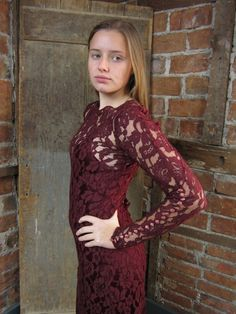 1930's-40's LACE Dress Gown Burgundy Peek a Boo . Slip Sexy Body Hugging Dress on Etsy, $249.00
