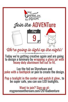 Happy #FamilyFriday!   Today we're getting creative again and are going to design a luminary by wrapping a glass jar with heavy duty aluminum foil cut to fit. Lay the foil on Styrofoam and poke with a toothpick or pen to create the design.  Pop a tea light in the center and watch it glow.. to be super safe, you can use LED tea lights.  Want to light up the night with us? It's not too late to join!