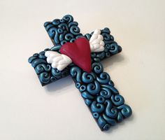 polymer clay cross pendants | Polymer Clay Swirl Cross Pendant With Heart by handmademom on Etsy