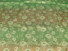 Great Green Flowery Thai Synthetic Silk Fabric Cultural Unstitched(R193)…