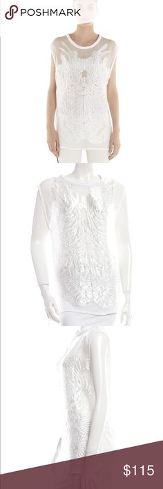 IRO Paris Olympia white ecru blouse top Size 38 Semi-sheer chiffon Honeycomb-knit neckline, stretch-jersey sleeves, frayed burnout front, side slits Slips on Fabric1: 60% polyester, 40% silk; fabric2: 100% silk; fabric3: 87% cotton, 13% polyester Dry clean  Fits true to size, take your normal size Cut for a loose fit This item is particularly long Lightweight, non-stretchy fabric   Tag Size:  38 (Fits best a Small to Medium)  This is an oversized fit - meant to be worn very loose There are…