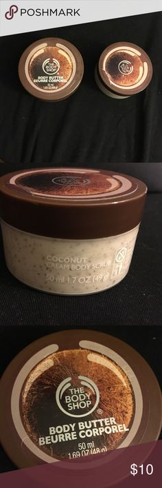 Body Shop Coconut body duo Body Shop Coconut body duo includes Coconut body butter and creamy body scrub. Never been used. Travel size. The Body Shop Makeup