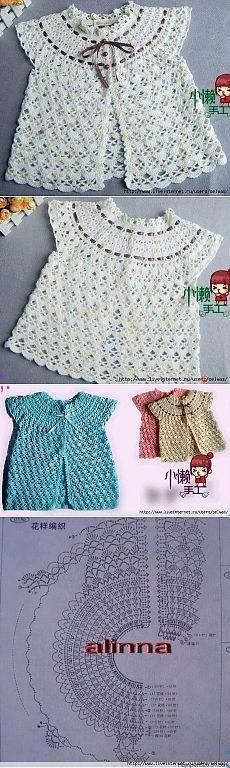Ideas For Crochet Cardigan Vest Charts Crochet Girls, Crochet Baby Clothes, Crochet For Kids, Knitting For Kids, Baby Knitting, Crochet Cardigan, Knit Crochet, Knitting Patterns, Crochet Patterns