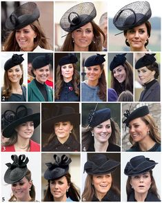 Part one of Kate's repeated headpieces starting with her black hats. 1: The top three images show the Duchess in her Lock & Co 'Lion Tamer' hat which she wore twice (on the same day) in 2011 to the Trooping the Colour and a friend's wedding as well as just a couple of weeks ago in France. 2: Lock & Co's 'Fairy Tale' hat is one of her most worn pieces. Kate wore it once in 2012 when visiting Leicester with the Queen, twice in 2013 to St Patrick's Day and Remembrance Sunday, once in 2014 to a…