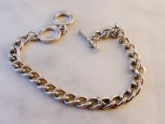 Chain Link Bracelet   8 Inch     Toggle Clasp   Silver Tone by GemstoneCowboy on…