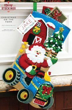 Bucilla Christmas On The Farm ~ 18 Felt Stocking Kit by Merry Stockings Santa Felt Stocking Kit, Christmas Stocking Kits, Felt Christmas Stockings, Christmas Crafts, Christmas Ornaments, Xmas, Merry Stockings, Cute Stockings, The Farm