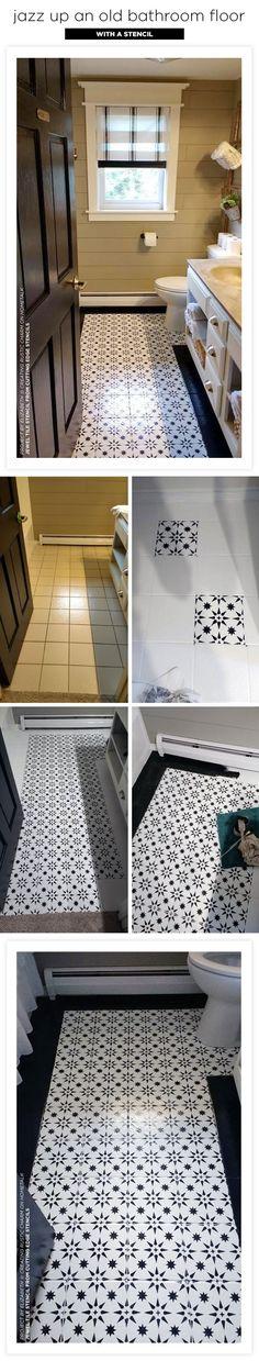 Cutting Edge Stencils shares a ceramic bathroom floor makeover using the Jewel Tile Stencil #diy #design #homedecor #bathroom #painting