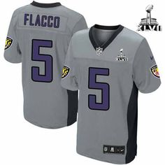 cd8b245c0 NFL NIKE Baltimore Ravens  5 Joe Flacco Shadow Grey With Super Bowl Mens Game  Jersey