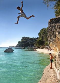If you have the guts to try this extreme activity of Cliff Diving! Visit the White Beach and Diniwid Beach at Boracay, Philippines. Boracay Philippines, Philippines Beaches, Philippines Travel, Visit Philippines, Vacation Destinations, Vacation Spots, Vacations, Beautiful Islands, Beautiful World