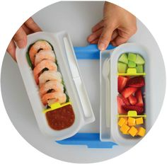 The PORTION8TM PLATE comes in blue, pink, green and grey. Each one comes with one ring, two sides, two lids, three sizers and a spork and knife. Made in the USA