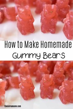 Here's a fun and easy Homemade Gummy Bears recipe you can make for your kids that only has 4 ingredients. Best of all they're delicious! Fun Dinners For Kids, Recipes Kids Can Make, Fun Foods To Make, Baking Recipes For Kids, Fun Easy Recipes, Easy Food To Make, Dinner Recipes For Kids, Healthy Snacks For Kids, Kids Meals