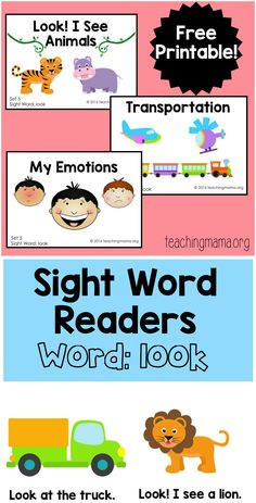 """Sight Word Readers for the Word """"Look"""""""