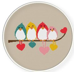 Instant Download,Free shipping,Cross stitch pattern, Cross-StitchPDF,birds couples ,birds lovers,ZXXC0257. $5.00, via Etsy.