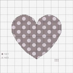 Polka Dot Heart Cross Stitch Quick-Med: not small, but simple count. And cute.