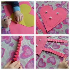 This is a sweet Valentine's Day craft for Preschoolers. The folding needed to make the arms and legs is great for developing fine motor skills too. Valentines Day Crafts For Preschoolers, Preschool Valentine Crafts, Kindergarten Crafts, Valentines Day Activities, Valentines Day Party, Preschool Activities, Crafts For Kids, Valentine Ideas, Preschool Learning