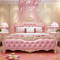 Pink bed and carpet Royal Bedroom, Pink Bedroom Decor, Home Bedroom, Luxury Bedroom Design, Home Room Design, Bed Design, Fancy Bed, Cute Room Decor, Pink Room