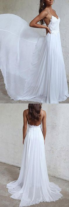 Elegant White Long Chiffon Beach Wedding Dress, A-line Straps Wedding Gown
