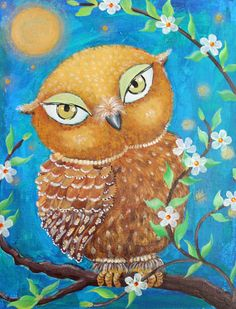 The Curious Owl original acrylic painting by SparkleArtStudio