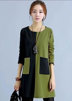 Colour Block Round Neck Casual Dresses 1 - love the black and khaki together. - - Colour Block Round Neck Casual Dresses 1 – love the black and khaki together. Great over leggings. Girls Casual Dresses, Cheap Dresses, Dress Casual, Diy Kleidung, Club Party Dresses, Patchwork Dress, Mode Inspiration, Fashion Outfits, Womens Fashion