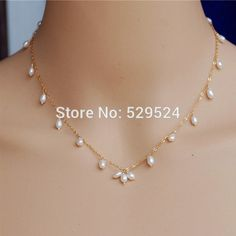Simple fashion and natural freshwater rice shape pearl necklace ...
