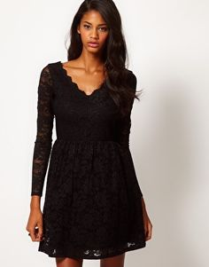 Image 1 of ASOS Skater Dress in Lace with Scallop Neck