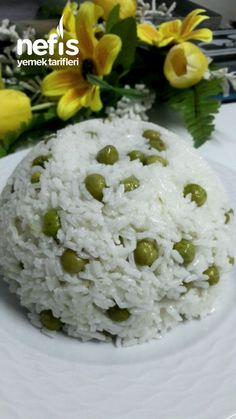 Rice Pilaf with Wire Spilled Pea with Rice .- Tel Tel Dökülen Bezelyeli Pirinç Pilavı Rice Pilaf with Wire Spilled Peas # Telteldökülenbezelyelipirinçpilav of the the I on # Is sunumöneml - Shrimp Recipes, Rice Recipes, Cooking Recipes, Yummy Recipes, Rice Pilaf Recipe, Turkish Recipes, French Food, Rice Dishes, Mac And Cheese