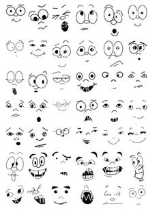 art dibujos Face Clipart makes a great addition to your halloween clip art collection. Use on pumpkins, ghosts, kid clipart. Cartoon Faces Expressions, Funny Cartoon Faces, Drawing Cartoon Faces, Girl Face Drawing, Silly Faces, Face Art, Cute Cartoon Eyes, Cute Faces, Rock Painting Designs