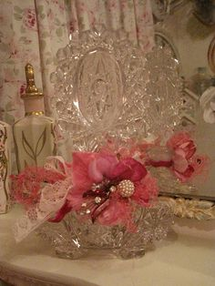 Vintage pink and pearl bottle