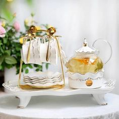 European Flair - Amaya Ivory Blooming Tea Set - Ivory w/ Gold Trim 6PC Set w Serving Tray / USA