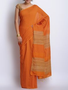 Buy Orange Cotton Handwoven Saree Sarees Woven Needle Art Kantha Embroidered Blouse pieces from Murshidabad Bengal Online at Jaypore.com