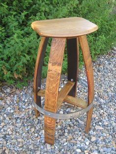 Barrel Stave Barstool by Barreldecor on Etsy Bourbon Barrel Furniture, Wine Barrel Diy, Wine Barrel Chairs, Wine Barrels, Table Baril, Barris, Red Wine Stains, Barrel Projects, Chairs