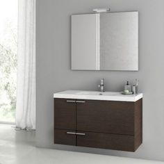 ACF by Nameeks ACF ANS22-W New Space 39-in. Single Bathroom Vanity Set - Wenge - ACF ANS22-W-