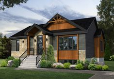 Your home for the price of rent. Modern Bungalow Exterior, Modern Bungalow House, Bungalow House Plans, Craftsman House Plans, Dream House Exterior, Exterior House Colors, Exterior Design, House Exteriors, One Storey House